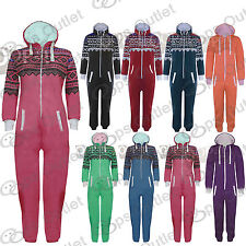 Kids Boys Girls Aztec Plain Hooded All in One Hoody Piece Hoodie Onesie Jumpsuit