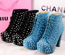 Sexy woman's rivet T station thick-heeled front straps boots ankle boots