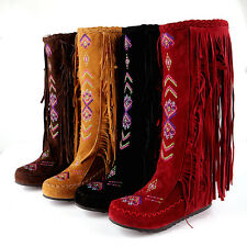 Womens Tassels Fringe Embroidery Mid Calf Knee High Boots Hidden Wedge Moccasin
