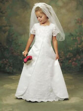 TRADITIONAL SHORT SLEEVED SATIN FLOWER GIRL BRIDESMAID DRESS SCOLLOPED HEM