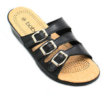 Women's Summer Casual Triple  Adjustable Buckle Comfort Sandals Shoes Black New!