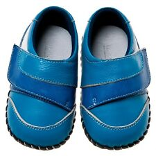 Little Blue Lamb Blue Cow Leather Soft Soled Baby Boy Shoes 6-24M New Box
