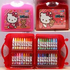 Licensed Hello Kitty 36 Color Crayon Set Box Kid Art Drawing Painting Stationery