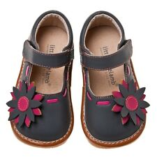 Little Blue Lamb Gray Flower Leather Squeaky Dress Shoes Toddler Girl 3 to 7 New
