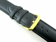 Stitched Navy Blue Padded Leather Watch Strap - Free UK 1st Class P&P        520