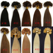 Pre Bonded Kertain Glue Nail U Tip 100% Remy Real Human Hair Extensions 100S New