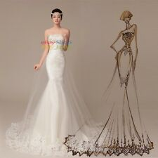 High Quality Mermaid Lace Strapless White/Ivory Wedding Dress Bridal Gown Stock