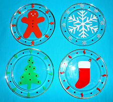 Christmas Glass Pillar Candle Plates Holders Coasters Party Decorations