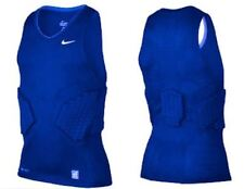 Mens NIKE Pro Combat Vis Deflex 2.0 Padded Blue Basketball Compression Tank Top