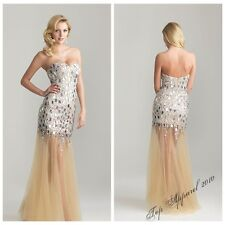 Fashion Strapless Long Prom Rhinestone Dresses Beading Formal Party Gowns