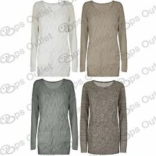 Womens Ladies Long Sleeves Cable Netted Chunky Knitted Long Sweater Jumper Top