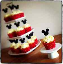 12 MICKEY MINNIE CUP CAKE FLAG  *Black/Pink/Red* Disney Mouse Topper Decoration