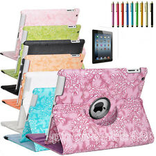 New Rotating PU Leather Flower Case Smart Cover Stand For iPad 4 3 2 & iPad Mini