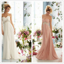 STOCK Chiffon Sweetheart Beaded Party/Prom Dress Evening Bridesmaids dress 6-16