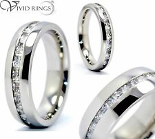 316L Stainless Steel Princess Cut Eternity Ring CZ 4mm 6mm 8mm Size 4 to 13.5