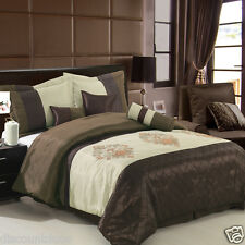 Luxury 7 Piece Pacifica Brown Beige Comforter Set with Pillows Bed in a Bag