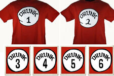 "The all new ""DRUNK"" 1 2 3 4 5 6 T SHIRT Brand New funny frat drinking thing tee"