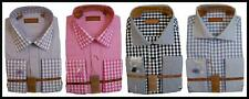 New Don Jonathan Spread Collar Plaid Checkered Cotton Dress Shirt French Cuffs