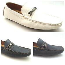 NEW Mens Loafers Italian Style Office Smart Shoes Black White Brown Size 7 - 11