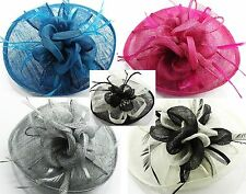 """Ascot/Wedding Ribbon Flower with Feathers Fascinator 9"""" Hat on Hair Clip (#82)"""