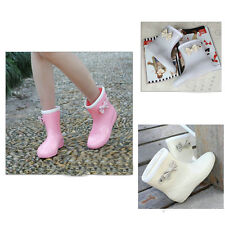 Stylish Women Bowknot Waterproof Ankle Boot Snow Rain Rubber Flat Shoes 3 Colors