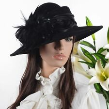 Women Wool Plume Kentucky Derby Church Dress Wide Brim Hat