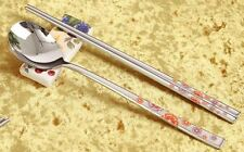 2 x Korean Stainless Steel Luxury Gift Spoon and Chopstic Set Flower Pattern