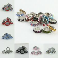 Wholesale Crystal Spacer Findings European Charm Beads 2x8mm Fit Bracelets