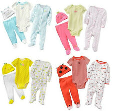 Carters Newborn 3 6 9 Months Pajama Bodysuit Pants Set Baby Girl Clothes Outfit