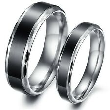 Black Couple Polished Titanium Stainless Steel Ring Wedding Bands Ring 4mm 6mm