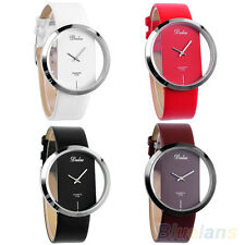 Women's Girl's New Colorful Leather Transparent Dial Succinct Sport Watches B35U