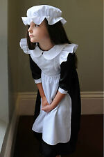 New Victorian Millie Maid girls complete fancy dress in black by Travis Designs