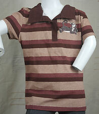 DISNEY POLO SHIRT BOYS BROWN 11 12 13 YEARS KIDS CLOTHES STRIPPED CLOTHING