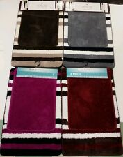 Bathroom 2pc Mat Rugs Set Shaggy Striped Super Soft Brand New 4 Different Colors