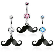 Black IP Mustache Dangle Double CZ Gem Belly Ring Navel Naval Stache Clear Pink