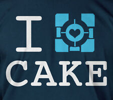 I love cake - Portal Aperture PC gamers heart baking cooking chef tee t-shirt