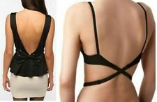 WOMENS LOW BACK BRA STRAP EXTENDER BACKLESS TOP DRESS SINGLET BLACK WHITE BEIGE