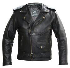 Marlon Brando Biker Leather Jacket Thick Naked Cowhide, Removable Lining Antique