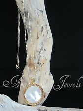 STUNNING MI MILANO NECKLACE/PENDANT/KEEPER/LOCKET SET/PEARL COIN/MONEDA GOLD
