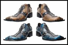 Fiesso Slip on Dress Shoes Marbled Leather With Leather Cross Blue,Taupe FI 6730