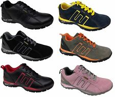 Mens Womens Safety Trainer Shoes Black Navy Blue Grey Pink Warehouse Lace Padded