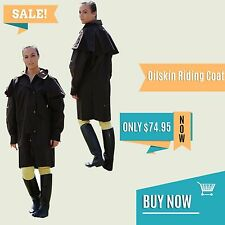 Oil Skin riding coat long jacket brown drizabone style cotton lined all sizes
