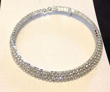 Crystal Choker Collar with three rows of crystals CL1190A