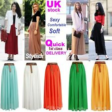 WOMENS LADIES GIRL CHIFFON MAXI LONG SKIRT ALL COLOUR SIZE 8 10 12 14 Stylish-L5