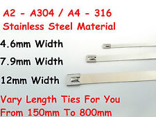4.6mm - 7.9mm Exhaust Heat Stainless Steel Cable Ties Wrap Multi Size Metal Tie