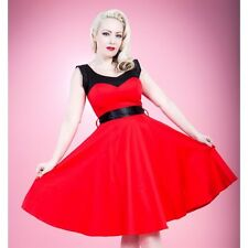 HEARTS & ROSES 1950s Fashion Dress H R Red Black Rockabilly Pin Up Retro Swing