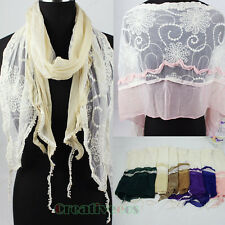 Stylish Women's Embroidery Lace Floral Euffle Stitching Long Scarf Shawl Wrap