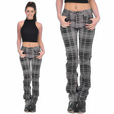 Grey Tartan Checked Plaid Skinny Slim Fitted Stretch Pants Punk Trousers Jeans
