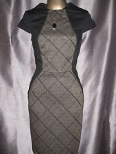 New Vtg Black Brown Check Illusion Bodycon Pencil Wiggle Office Dress Business