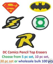 DC COMICS COMIC PENCIL TOP TOPPER ERASERS PUZZLE DC SUPER HERO
